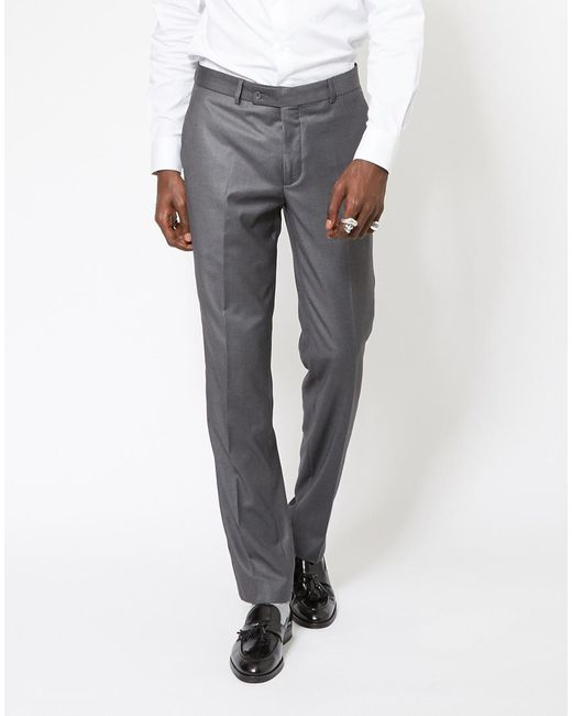 The Idle Man | Gray Slim Fit Pure Wool Suit Trousers Grey for Men | Lyst