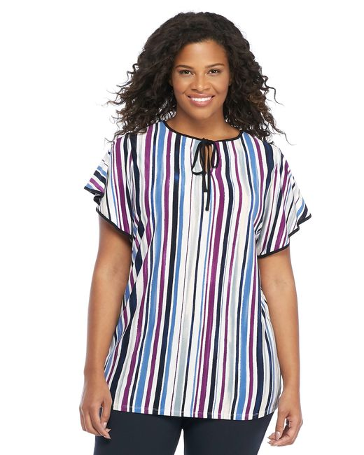 The Limited - Blue Plus Size Ruffle Tipped Top - Lyst