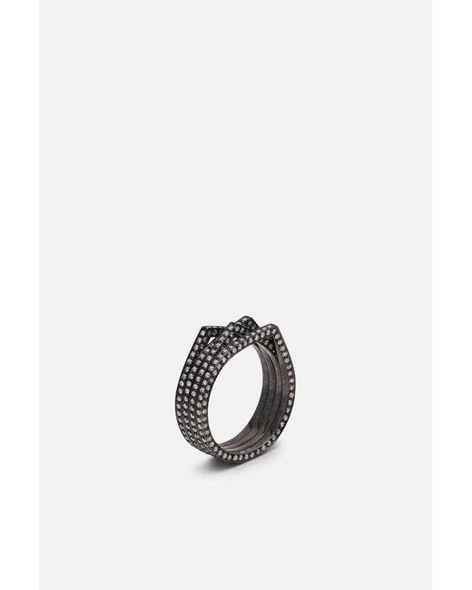 Repossi - Metallic 4 Rows Antifer Black Gold Pave Diamond Ring - Lyst