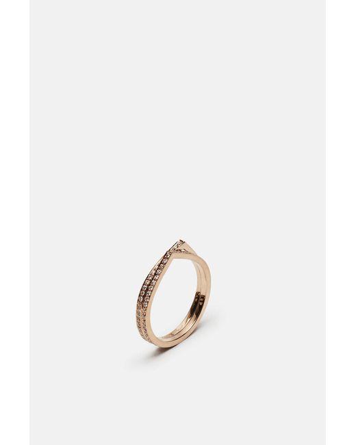 Repossi - Metallic 2 Rows Antifer Pink Gold Half Pave Diamond Ring - Lyst