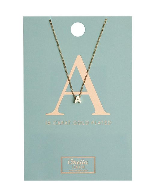 Orelia - Metallic Necklace Initial A - Lyst