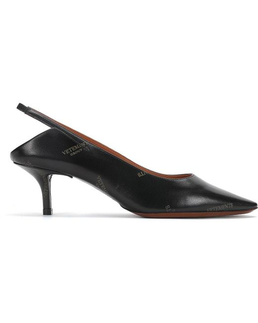 Naked Logo-print Leather Slingback Pumps - Black VETEMENTS IoEVmNjJUy