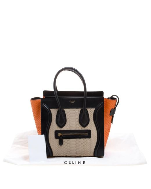 fa5a397f0d ... Céline - Black Tri Color Python And Leather Micro Luggage Tote - Lyst  ...