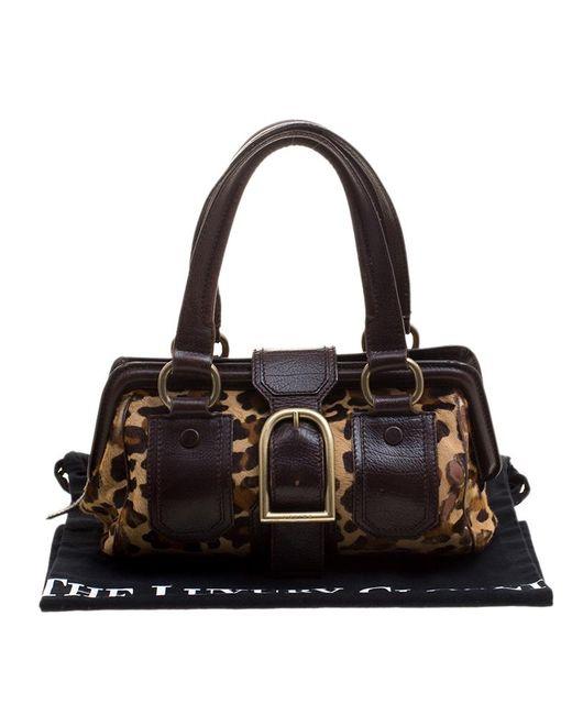 9de19b2c09b4 ... Céline - Brown Leopard Print Pony Hair And Leather Ella Satchel - Lyst  ...