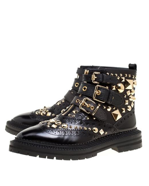 3cf46f85718 Burberry Studded Leather Everdon Ankle Boots in Black - Save 30% - Lyst