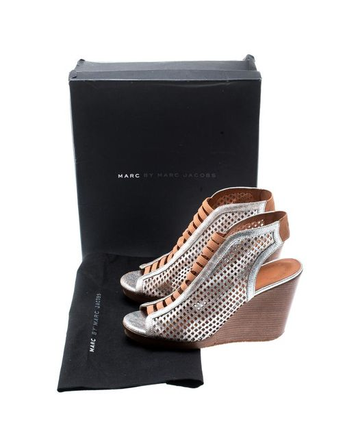 Marc By Marc Jacobs Metallic Silver Perforated Leather