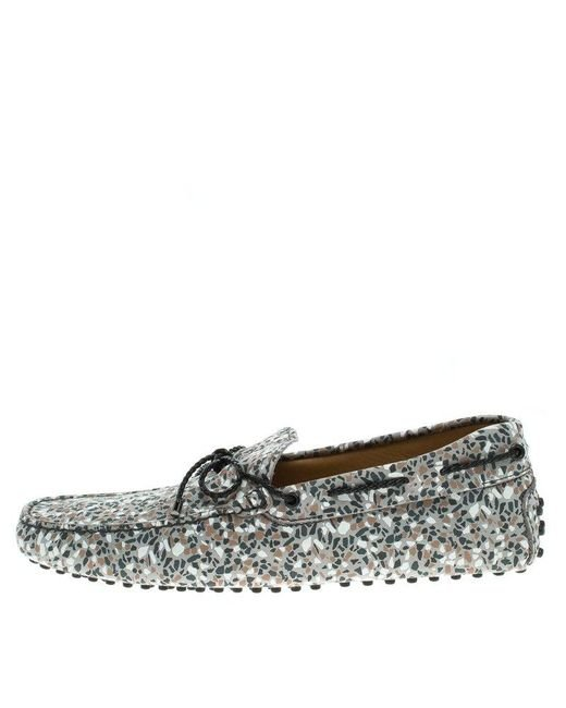 144eeca4c60 Lyst - Tod's Grey Printed Leather Bow Loafers Size 42 in Gray for ...