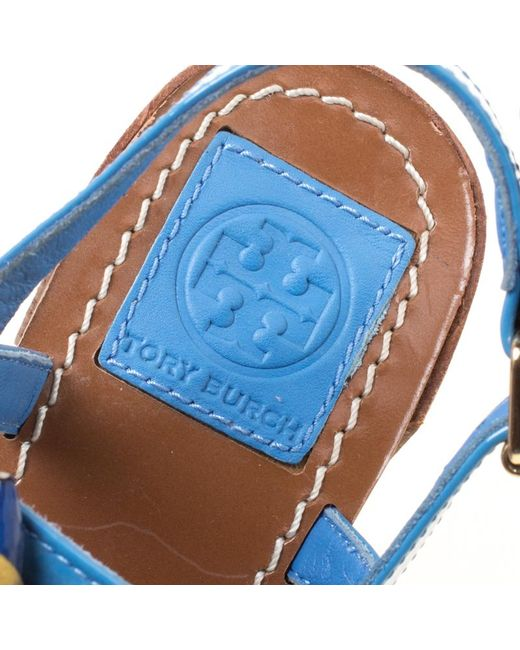 beaa4d15ad49 ... Tory Burch - Blue Patent Leather Emilynn Beaded T-strap Sandals - Lyst  ...