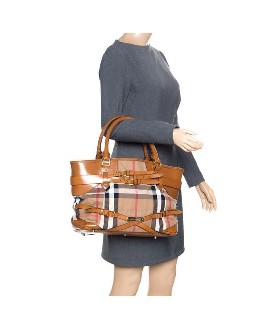 75edb312a3c ... Burberry - Brown House Check Canvas And Leather Medium Bridle Lynher  Tote - Lyst ...