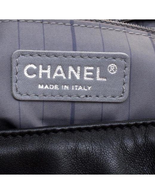 6d2f65c7ae83 ... Chanel - Black Leather Studded Cc Accordion Flap Bag - Lyst ...