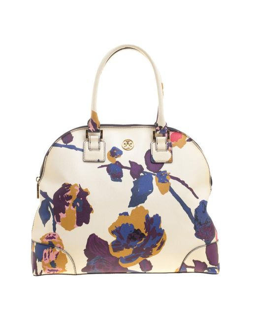 Tory Burch - Multicolor Off White/ Floral Print Large Robinson Dome Satchel - Lyst