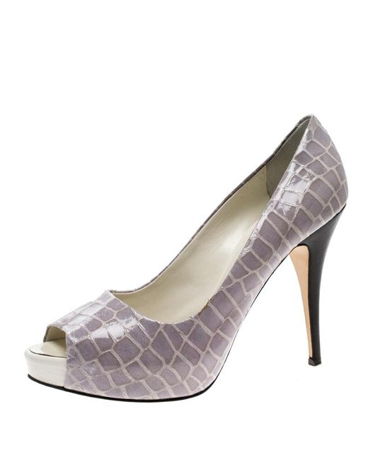 Giuseppe Zanotti - Gray Croc Embossed Patent Leather Peep Toe Platform Pumps - Lyst