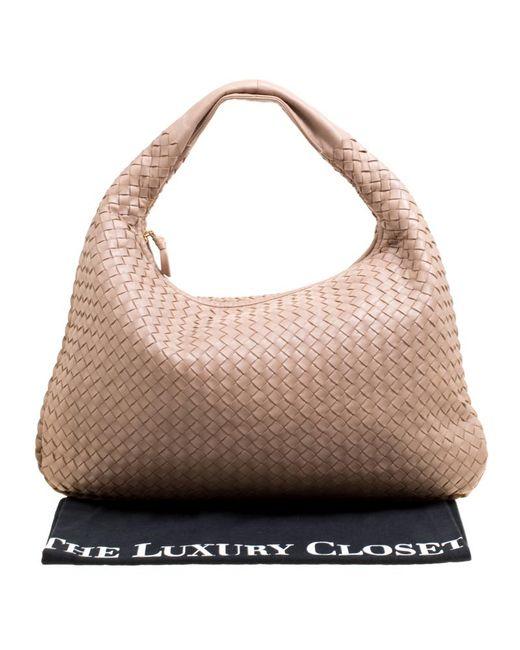 715d8a8918e ... Bottega Veneta - Natural Intrecciato Leather Veneta Hobo - Lyst ...
