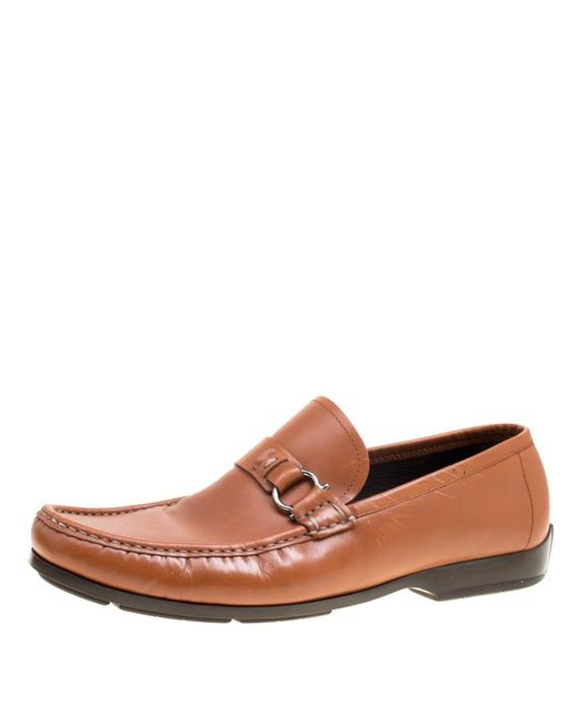 6117b383ad89d Ferragamo - Brown Leather Gancini Loafers Size 44.5 for Men - Lyst ...