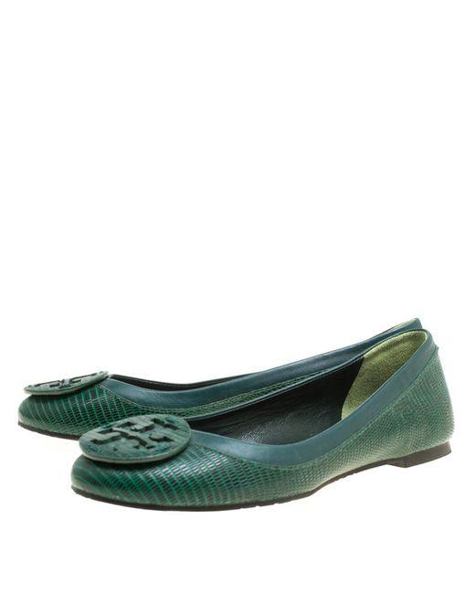 9a61db9d7d4c ... Tory Burch - Green Lizard Embossed Leather Reva Ballet Flats - Lyst ...