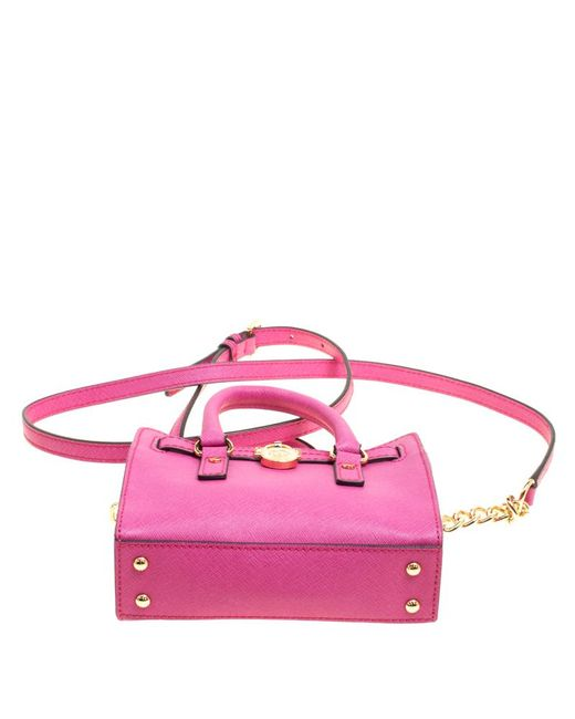 a994e75cc254 ... MICHAEL Michael Kors - Hot Pink Saffiano Leather Mini Hamilton  Crossbody Bag - Lyst ...