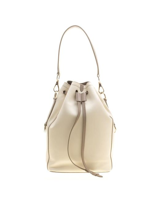 Ralph Lauren - Multicolor Off White/taupe Leather Ricky Drawstring Bucket Bag - Lyst