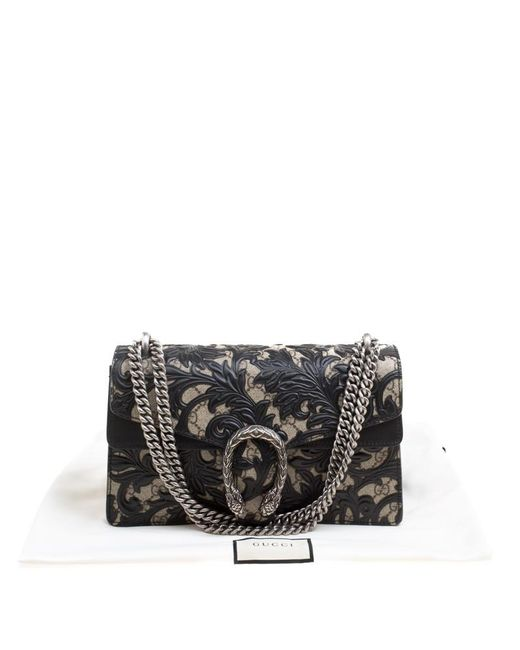 a4fbd40f6f4 ... Gucci - Beige black GG Supreme Canvas And Leather Small Dionysus  Arabesque Shoulder Bag ...