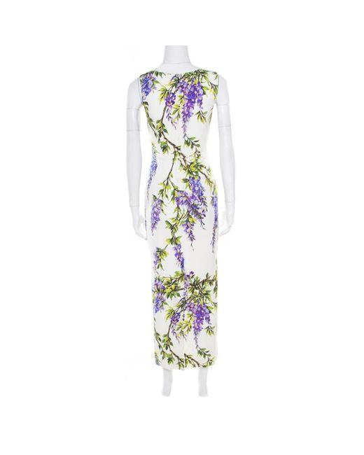 01b87fed ... Dolce & Gabbana - Dolce & Gabbana Off White Wisteria Printed Silk  Charmeuse Sleeveless Sheath Dress ...