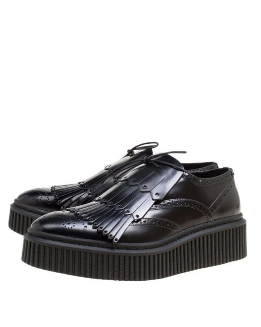7be8a05ec30 ... Burberry - Black Brogue Leather Chelsam Lace Up Platform Oxfords Size  40 - Lyst ...