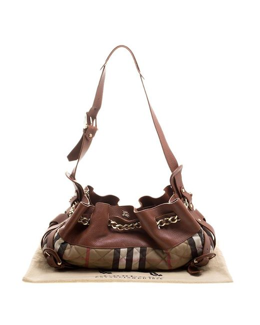 ad6f3c16e75 ... Burberry - Brown  beige Leather And Quilted House Check Margaret  Shoulder Bag - Lyst ...