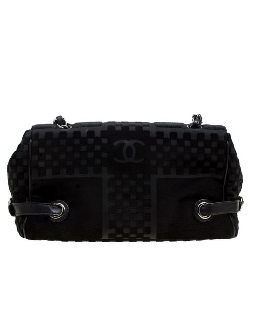 ae1527a0a0aa7d ... Chanel - Black Check Embossed Velvet Vintage Cc Side Belted Bowler Bag  - Lyst ...