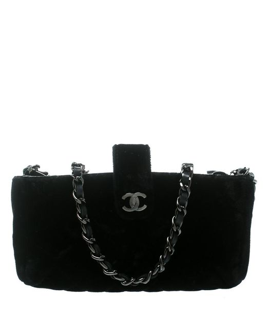 8bfe641892 Chanel - Black Quilted Velvet Iphone Pouch - Lyst ...