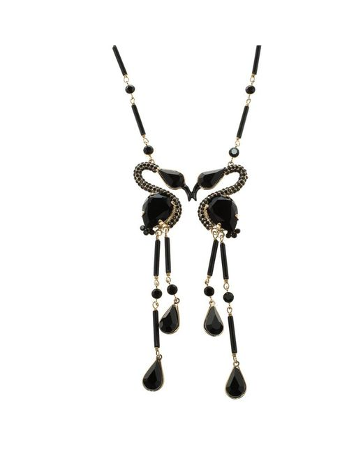 Etro - Black Crystal Bead Swans Gold Tone Dangle Necklace - Lyst
