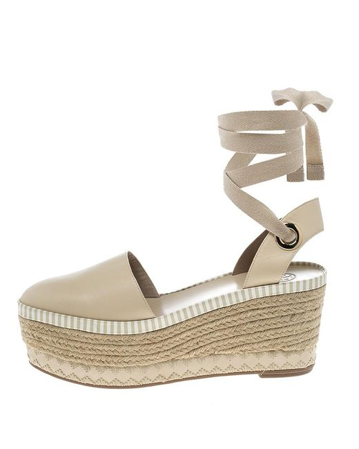 ... Tory Burch - Natural Beige Leather Dandy Ankle Wrap Espadrille Wedge  Sandals Size 40 - Lyst ...