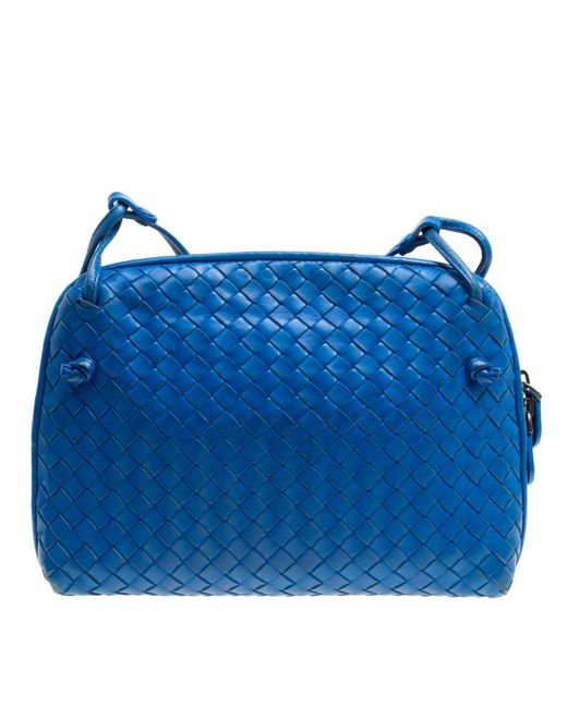 9d0b6449ea01 ... Bottega Veneta - Blue Intrecciato Nappa Leather Crossbody Bag - Lyst ...