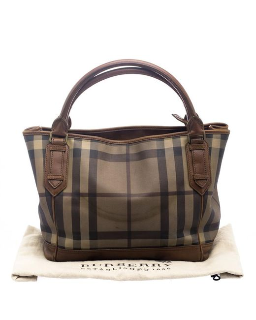 ... Burberry - Brown Smoke Check Pvc And Leather Tote - Lyst ... 4b8b680e338a2