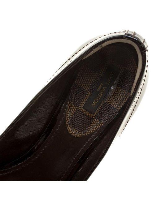 9ca39f81de ... Louis Vuitton - Black Vernis Leather Dice Peep Toe Platform Pumps Size  39 - Lyst ...