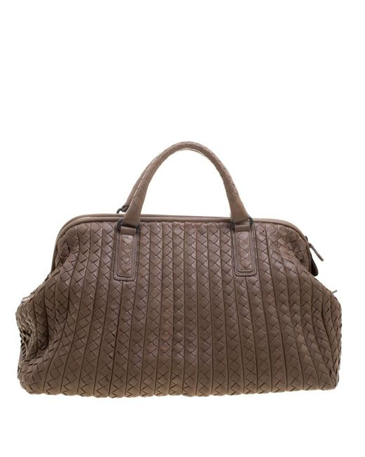 483f3d31601f ... Bottega Veneta - Natural Intrecciato Leather New Bond Satchel - Lyst ...