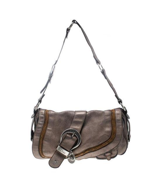 9c01001f7a Dior Metallic Khaki Leather Gaucho Saddle Bag in Metallic - Lyst