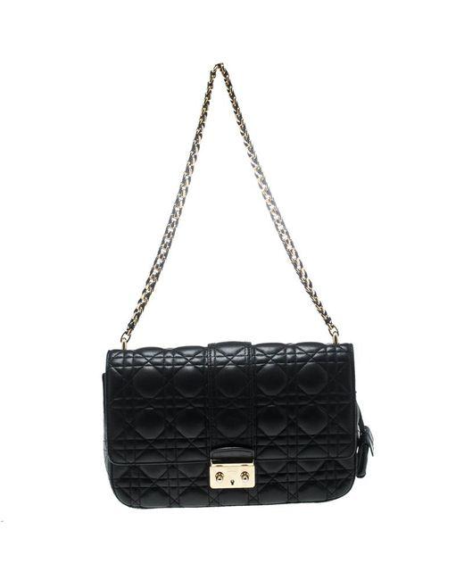 Dior - Black Cannage Leather Miss Medium Flap Bag - Lyst