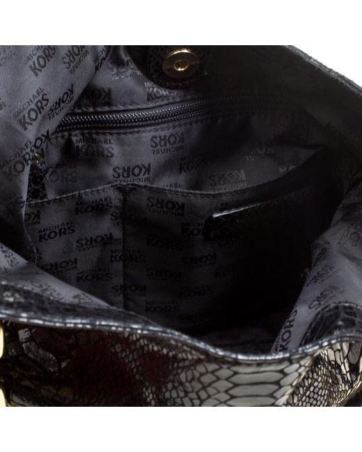 4c5dcd04b9ba ... MICHAEL Michael Kors - Black Python Embossed Leather Medium Lilly Chain  Tote - Lyst ...