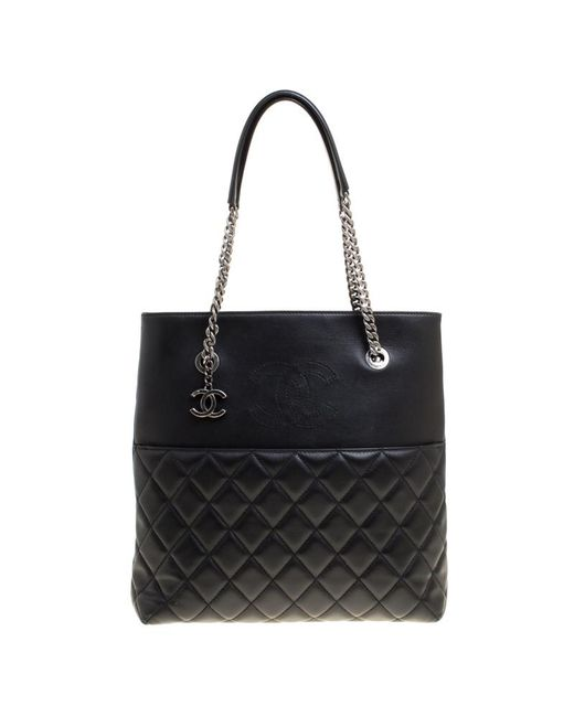 e463c0963762 Chanel - Black  blue Quilted Leather Cc Chain Tote - Lyst ...