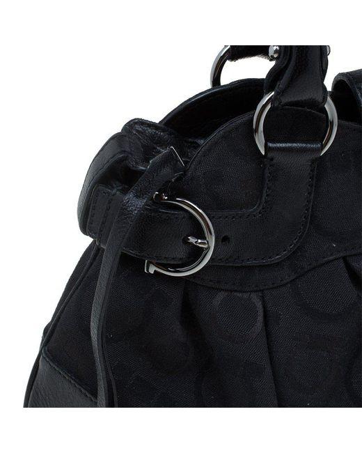 2306a1db3b4 ... Ferragamo - Black Monogram Canvas leather Marisa Shoulder Bag - Lyst ...