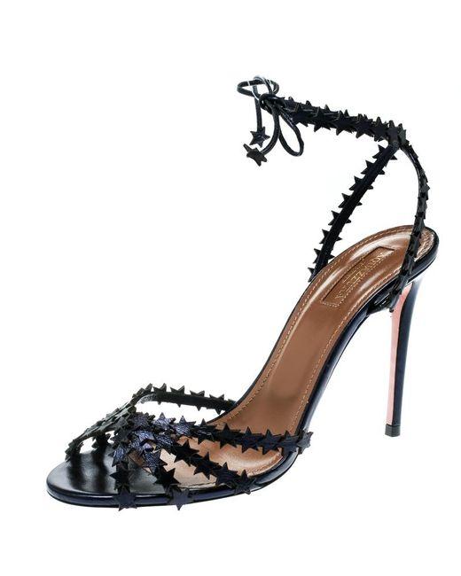 7d674dc6f162 Aquazzura - Blue Metallic Leather Starlight Ankle Strap Open Toe Sandals -  Lyst ...