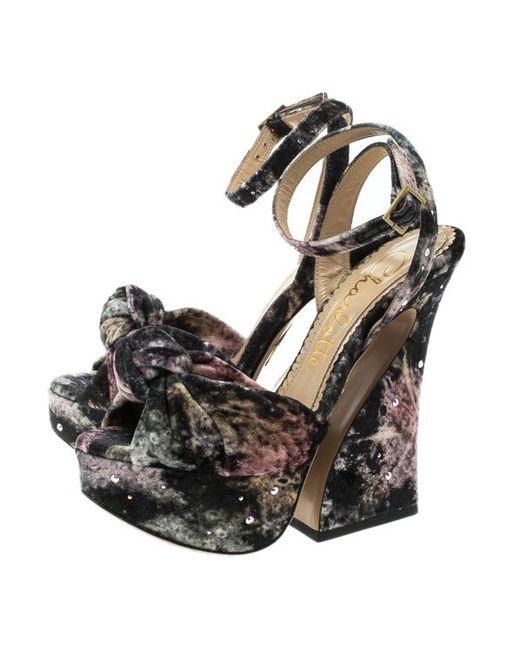 e3ebec1d927c ... Charlotte Olympia - Black Crystal Embellished Galaxy Print Velvet  Vreeland Peep Toe Platform Sandals - Lyst ...