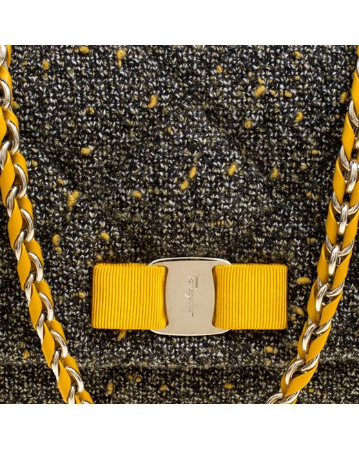 6753fb5efba4 ... Ferragamo - Gray Quilted Tweed Gelly Shoulder Bag - Lyst ...