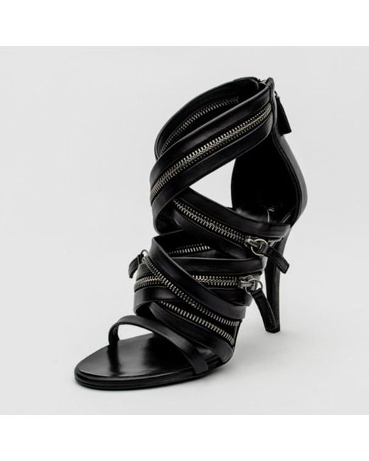 c504828fd8 Giuseppe Zanotti - For Pierre Balmain Black Leather Zip-embellished Sandals  Size 36 - Lyst ...