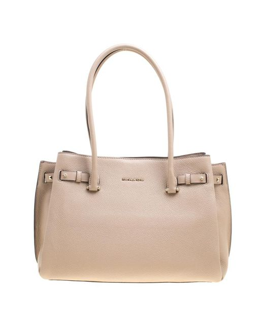 f0a2cdc9fe02 Michael Kors - Natural Pebbled Leather Large Addison Tote - Lyst ...