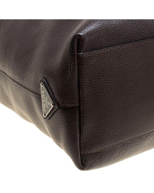 144975530d6c82 ... cheap prada brown dark leather luggage weekender bag for men lyst 036d1  ee1d9 authentic prada weekender duffel ...
