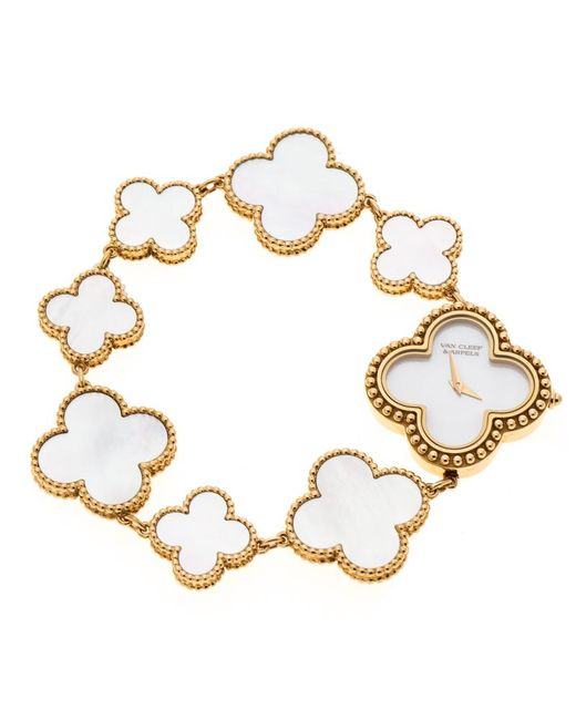 Van Cleef & Arpels - Metallic Mother Of Pearl 18k Yellow Vintage Alhambra Women's Bracelet Watch 26 Mm - Lyst