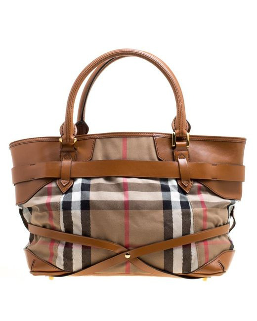 ... Burberry - Brown House Check Canvas And Leather Medium Bridle Lynher  Tote - Lyst ... efcd305804