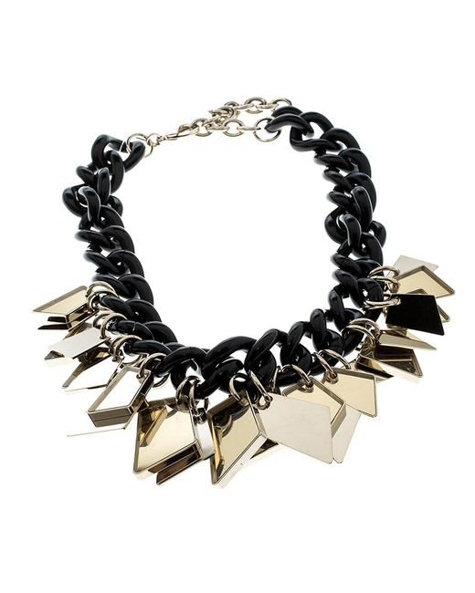 Ferragamo - Black Gold Tone Tags Resin Link Chain Necklace - Lyst