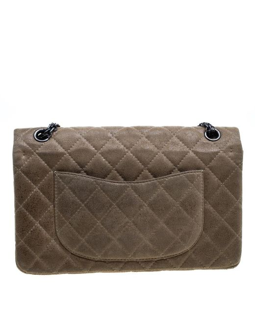 85ea36f5ac05c1 ... Chanel - Natural Beige Quilted Glazed Suede Reissue 2.55 Classic 226 Flap  Bag - Lyst ...
