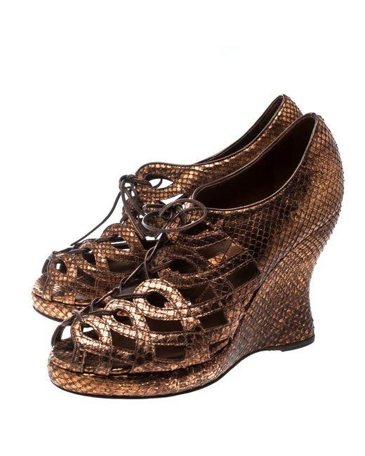 4834e8cab ... Bottega Veneta - Brown Metallic Python Peep Toe Platform Wedge Booties  - Lyst ...