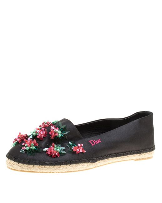 bd4bd2fcc2a Dior - Black Floral Embellished Canvas Espadrille Loafers Size 38 - Lyst ...